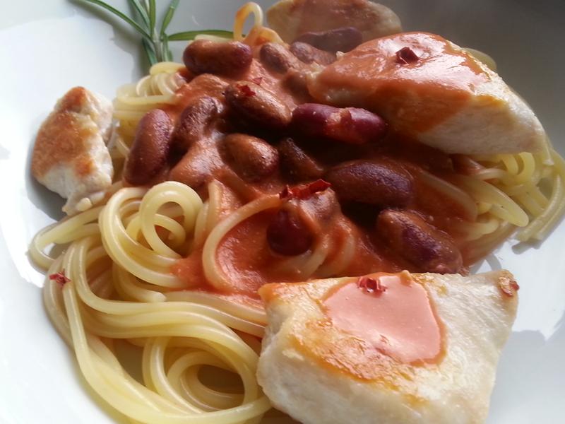 spaghetti mit pikanter tomatenrahmso e kchblog action. Black Bedroom Furniture Sets. Home Design Ideas