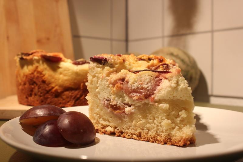 vanille quark kuchen mit zwetschgen